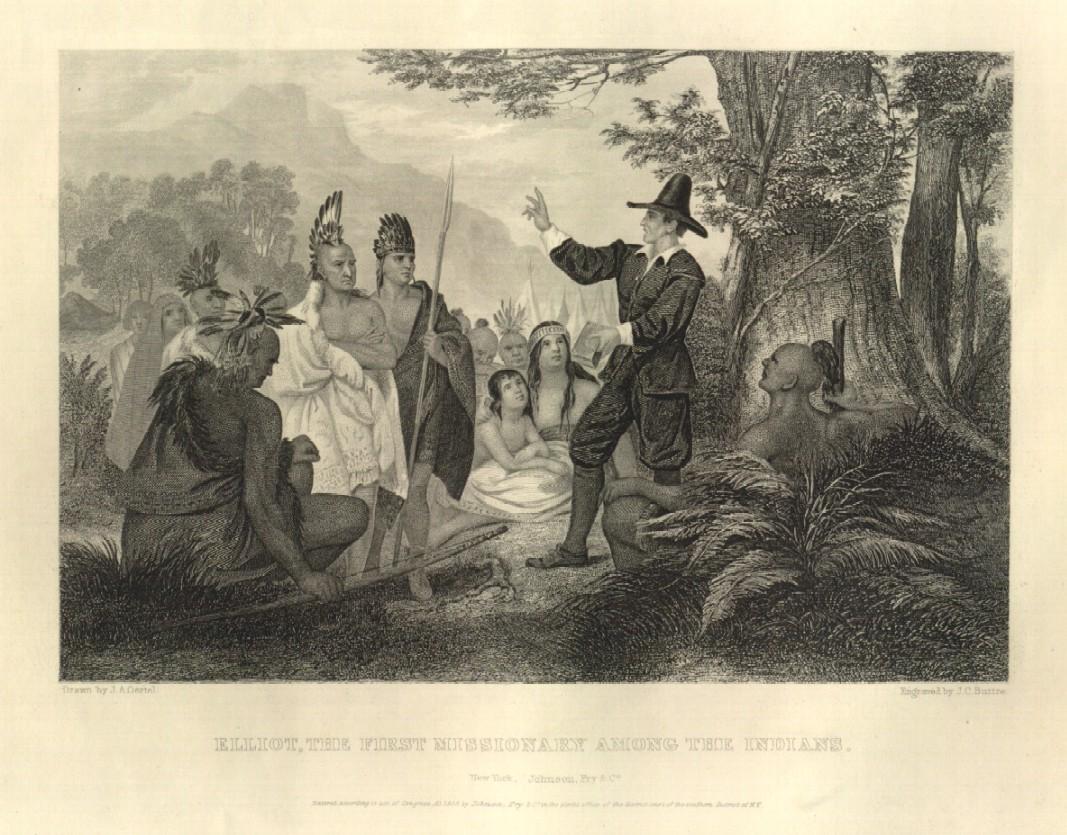John Eliot mentre predica agli Indiani